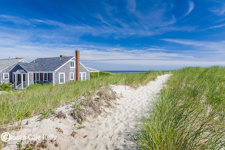 Beach houses at East Sandwich Beach, Sandwich, Cape Cod, MA