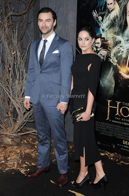 "Aidan Turner and wife at the Los Angeles premiere of ""The Hobbit: The Desolation Of Smaug"" held at the Dolby Theater December 2, 2013."