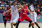 7th September 2017, Fenerbahce Arena, Istanbul, Turkey; FIBA Eurobasket Group D; Belgium versus Serbia; Center Vladimir Stimac #15 of Serbia fights for the ball against Power Forward Maxime De Zeeuw #14 of Belgium during the match