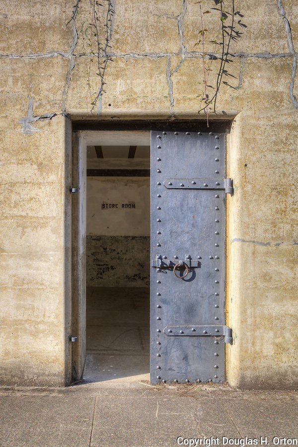 Door and Windows to an abandoned gunnery bunker at Fort Flagler in Washington State. & Bunker entrance door concrete walls and steel doors. | Douglas ...