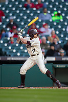 Texas A&M Aggies outfielder Tyler Logan (17) at bat during Houston College Classic against the Nebraska Cornhuskers on March 6, 2015 at Minute Maid Park in Houston, Texas. Texas A&M defeated Nebraska 2-1. (Andrew Woolley/Four Seam Images)