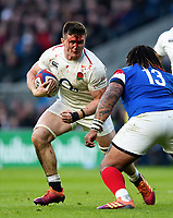 A bloodied Tom Curry of England faces off against Mathieu Bastareaud of France. Guinness Six Nations match between England and France on February 10, 2019 at Twickenham Stadium in London, England. Photo by: Patrick Khachfe / Onside Images