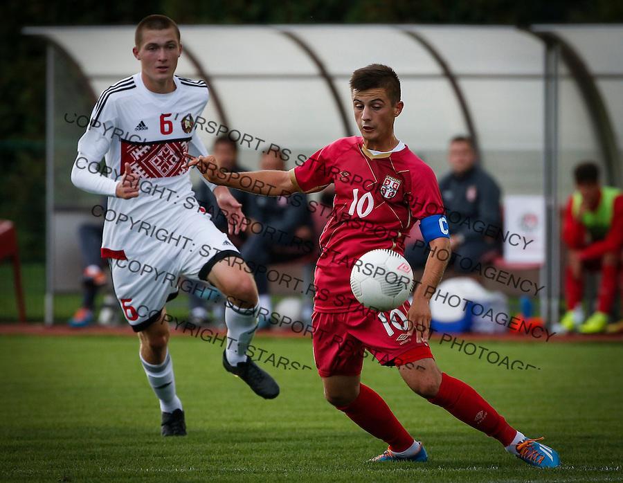 Fudbal Soccer<br /> International Friendly-Prijateljski mec<br /> Srbija U17 v Belorusiaj U17<br /> Armin Djerlek (R)<br /> Stara Pazova, 20.09.2016<br /> foto: Srdjan Stevanovic/Starsportphoto &copy;