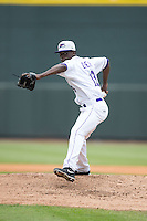 Winston-Salem Dash starting pitcher Robinson Leyer (13) in action against the Myrtle Beach Pelicans at BB&T Ballpark on April 18, 2015 in Winston-Salem, North Carolina.  The Pelicans defeated the Dash 4-1 in game one of a double-header.  (Brian Westerholt/Four Seam Images)