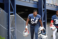 July 26, 2018: New England Patriots linebacker Christian Sam (54) heads to practice at the New England Patriots training camp held on the practice fields at Gillette Stadium, in Foxborough, Massachusetts. Eric Canha/CSM