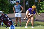 HOWEY IN THE HILLS, FL - MAY 11:  Holly Davenport of the Williams College Women's Golf gets low to watch her drive during team play. Claremont  Mudd Scripps eventually won the team and individual (Margaret Loncki) First Place Championships during the Division III Women's Golf Championship held at the Mission Inn Resort & Club on May 11, 2018 in Howey-In-The-Hills, Florida. (Photo by Matt Marriott/NCAA Photos via Getty Images)