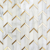 Belen, a hand-cut stone mosaic, shown in polished Calacatta and brushed Brass.