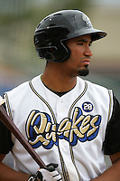 April 11, 2010: Angel Castillo of the Rancho Cucamonga Quakes during game against the Inland Empire 66'ers at The Epicenter in Rancho Cucamonga,CA.  Photo by Larry Goren/Four Seam Images