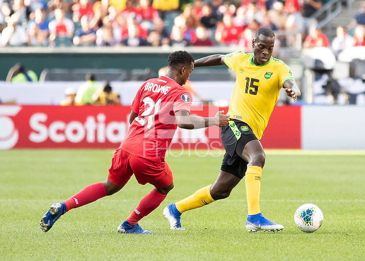 PHILADELPHIA, PA - JUNE 30: Je-Vaughn Watson #15 tries to dribble past Omar Browne #21 during a game between Panama and Jamaica at Lincoln Financial Field on June 30, 2019 in Philadelphia, Pennsylvania.