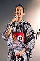 "July 27 2012, Tokyo, Japan  The winner of ""Shimbashi Net Award"" Lisa Kikukawa speaks at Yukata Beauty Contest in Koichi Festival. Shoko Kondo, one of the 10 finalists of 270 candidates, wins the annual Yukata Beauty Festival at Koichi Festival in Shimbashi, Tokyo. (Photo by Rodrigo Reyes Marin/AFLO).."