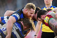 Ross Batty of Bath Rugby packs down for a scrum. Aviva Premiership match, between Bath Rugby and Harlequins on February 18, 2017 at the Recreation Ground in Bath, England. Photo by: Patrick Khachfe / Onside Images