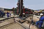 Workers at the shale oil drilling site, operated by IEI at Lachish region, Israel.