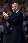 Manager Zinedine Zidane of Real Madrid reacts during the La Liga 2017-18 match between Atletico de Madrid and Real Madrid at Wanda Metropolitano  on November 18 2017 in Madrid, Spain. Photo by Diego Gonzalez / Power Sport Images