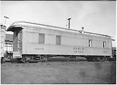 #0291 office car possibly at Alamosa.  3/4 view.<br /> D&amp;RGW