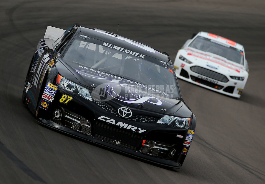 Mar. 3, 2013; Avondale, AZ, USA; NASCAR Sprint Cup Series driver Joe Nemechek during the Subway Fresh Fit 500 at Phoenix International Raceway. Mandatory Credit: Mark J. Rebilas-