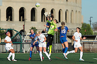Allston, MA - Sunday, May 22, 2016: FC Kansas City goalkeeper Nicole Barnhart (18) grabs a ball in traffic during a regular season National Women's Soccer League (NWSL) match at Jordan Field.