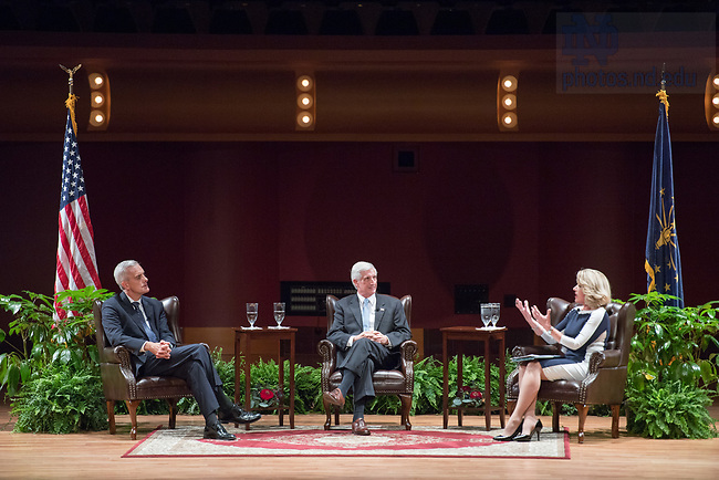 "October 4, 2017;  Moderator Maura Policelli, executive director of the Notre Dame Keough School of Global Affairs' Global Policy Initiative, speaks with Denis McDonough and Andrew Card, chiefs of staff to Presidents Barack Obama and George W. Bush, during a keynote Notre Dame Forum: ""Views from the West Wing: How Global Trends Shape U.S. Foreign Policy"" in the Leighton Concert Hall of  DeBartolo Performing Arts Center. (Photo by Barbara Johnston/University of Notre Dame)"