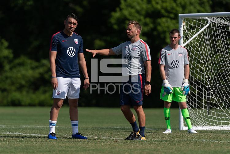Rome, GA - Friday, June 21, 2019:  Stuart Sharp, David Garza, Carter Alvey during a Para 7 USMNT training session.