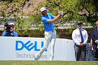 Dustin Johnson (USA) watches his tee shot on 1 during round 7 of the World Golf Championships, Dell Technologies Match Play, Austin Country Club, Austin, Texas, USA. 3/26/2017.<br /> Picture: Golffile | Ken Murray<br /> <br /> <br /> All photo usage must carry mandatory copyright credit (&copy; Golffile | Ken Murray)