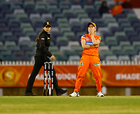1st November 2019; Western Australia Cricket Association Ground, Perth, Western Australia, Australia; Womens Big Bash League Cricket, Perth Scorchers versus Melbourne Renegades; Jemma Barsby of the Perth Scorchers reacts to a close catch off her bowling