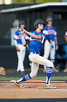 Ty Staz (5) of Mooresville Post 66 follows through on his swing against Kannapolis Post 115 during an American Legion baseball game at Northwest Cabarrus High School on May 30, 2019 in Concord, North Carolina. Mooresville Post 66 defeated Kannapolis Post 115 4-3. (Brian Westerholt/Four Seam Images)
