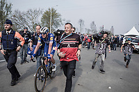 Kasper Asgreen (DEN/Deceuninck Quick Step) escorted by officials after finishing 2nd place at the <br /> 103rd Ronde van Vlaanderen 2019<br /> One day race from Antwerp to Oudenaarde (BEL/270km)<br /> <br /> ©kramon