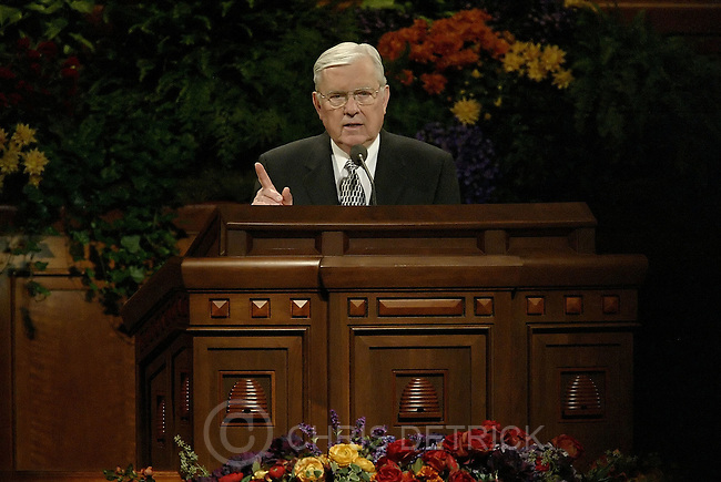 Salt Lake City, Utah --10/1/2005--..Elder M. Russell Ballard delivers his speech during the LDS Church General Conference held at the Conference Center. ...Chris Detrick/The Salt Lake Tribune.File #816G0394