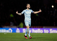 11th February 2020; Griffin Park, London, England; English Championship Football, Brentford FC versus Leeds United; Liam Cooper of Leeds United celebrates towards the Leeds fans after scoring his sides 1st goal in the 39th minute to make it 1-1