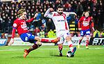 S&ouml;dert&auml;lje 2014-11-09 Fotboll Kval till Superettan Assyriska FF - &Ouml;rgryte IS :  <br /> &Ouml;rgrytes Jakob Lindstr&ouml;m i kamp om bollen med Assyriskas Mattias Genc under matchen mellan Assyriska FF och &Ouml;rgryte IS <br /> (Foto: Kenta J&ouml;nsson) Nyckelord:  S&ouml;dert&auml;lje Fotbollsarena Kval Superettan Assyriska AFF &Ouml;rgryte &Ouml;IS