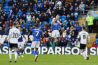 Ben Wilmot of Swansea City battles for a header against Junior Hoilett of Cardiff Cityduring the Sky Bet Championship match between Cardiff City and Swansea City at the Cardiff City Stadium, Cardiff, Wales, UK. Sunday 12 January 2020