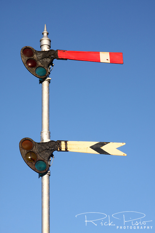 Railroad signal semaphores, Sunol, California.