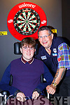 Triple World Champion Gary Anderson with Ian O'Connell at his exhibition in the Gleneagle Hotel on Saturday night