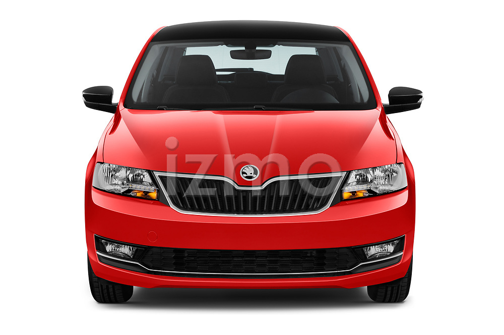 Car photography straight front view of a 2018 Skoda Rapid Spaceback Ambition 5 Door Hatchback