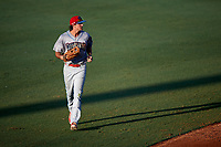 Clearwater Threshers center fielder Mark Laird (6) jogs back to the dugout during a game against the Bradenton Marauders on July 24, 2017 at LECOM Park in Bradenton, Florida.  Bradenton defeated Clearwater 6-3  (Mike Janes/Four Seam Images)