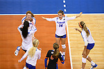 KANSAS CITY, MO - DECEMBER 16: University of Florida players react after scoring during the Division I Women's Volleyball Championship held at Sprint Center on December 16, 2017 in Kansas City, Missouri. (Photo by Jamie Schwaberow/NCAA Photos via Getty Images)