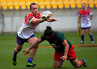 Nathan Kendrick tries to keep a hold of the ball during the Heartland Championship rugby match between Horowhenua Kapiti and Wairarapa Bush at Westpac Stadium in Wellington, New Zealand on Sunday, 1 October 2017. Photo: Dave Lintott / lintottphoto.co.nz