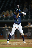 Shervyen Newton (3) of the Columbia Fireflies at bat against the Rome Braves at Segra Park on May 13, 2019 in Columbia, South Carolina. The Fireflies defeated the Braves 6-1 in game two of a doubleheader. (Brian Westerholt/Four Seam Images)