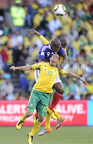 22 06 2010   Bloemfontein June 22 2010  Frances Djibril Cisse Fights for The Ball with South Africas Steven Pienaar Front during . 2010 FIFA World Cup France v South Africa, played Bloemfontein, South Africa at the Free State Stadium.