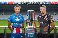 Picture by Allan McKenzie/SWpix.com - 15/05/2017 - Rugby League - Dacia Magic Weekend 2017 Preview - St James Park, Newcastle, England - Leeds's Ashton Golding & Castleford's Glen Minikin with the Betfred Super League trophy ahead of their Magic Weekend game.