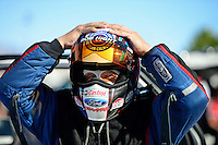 Oct. 26, 2012; Las Vegas, NV, USA: NHRA funny car driver Robert Hight during qualifying for the Big O Tires Nationals at The Strip in Las Vegas. Mandatory Credit: Mark J. Rebilas-