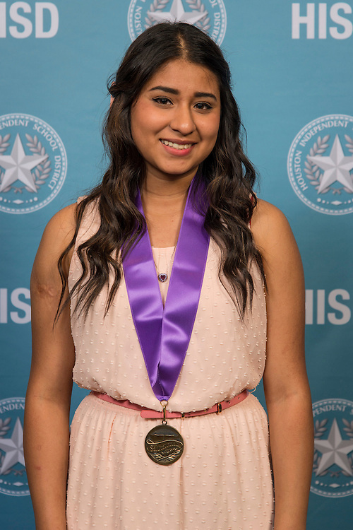 Houston ISD Valdictorian and Saluditorian winners pose for photographs at the Scholar's Banquet, April 7, 2015.