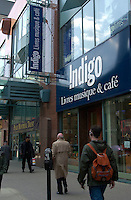 Montreal, April 19, 2001<br /> Pedestrians walk in front of the Indigo book store on Ste-Catherine West Street in downtown Montreal, CANADA, April 19, 2001<br /> After the approval of it's merging with Chapters book librairies, Indigo  will close 23 librairies and wont be opening new ones for the next 2 years<br /> Photo by Pierre Roussel / <br /> NOTE :  Uncorrected Nikon D-1 JPEG saved as Adobe 1998 RGB color space