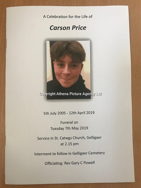Pictured: The order of service. Tuesday 07 May 2019<br /> Re: Funeral of 13 year old Carson Price at Gelligaer Church, in Gelligaer, Wales, UK.<br /> Schoolboy Carson Price was found at a park in Ystrad Mynach, south Wales at the start of the Easter school holidays.<br /> It is believed he had taken MDMA Donkey Kong tablets.