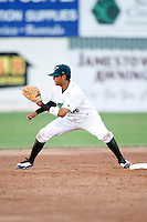 July 16, 2009:  Second Baseman Jose Torres of the Jamestown Jammers during a game at Russell Diethrick Park in Jamestown, NY.  The Jammers are the NY-Penn League Short-Season Single-A affiliate of the Florida Marlins.  Photo By Mike Janes/Four Seam Images