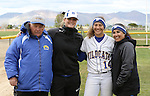 Bailey Henderson with coaches at the Sophomore Day celebration after the first game of the Western Nevada College softball doubleheader on Saturday, April 30, 2016 at Pete Livermore Sports Complex. Photo by Shannon Litz/Nevada Photo Source