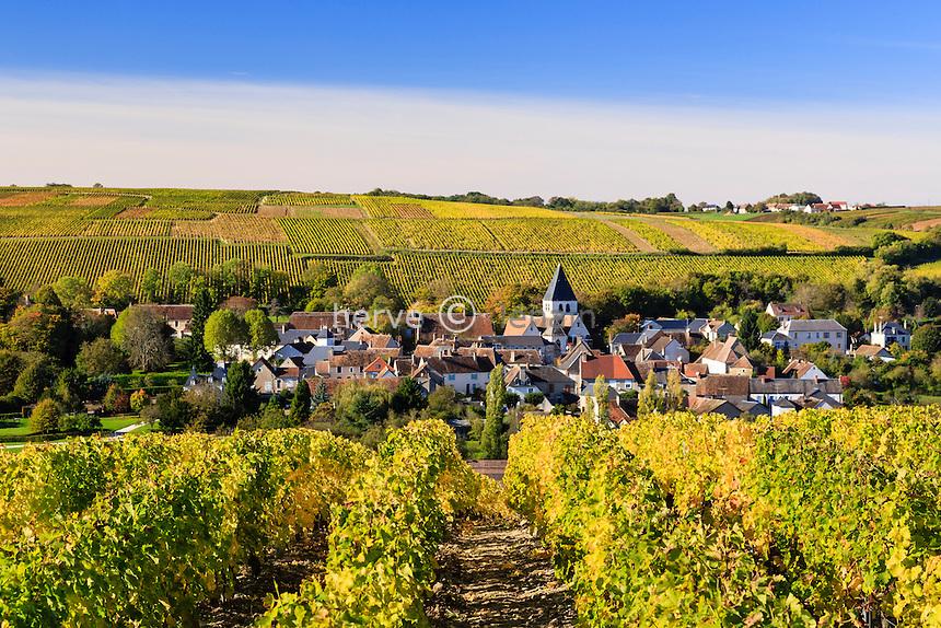 France, Cher (18), région du Berry, région du Sancerrois, Sury-en-Vaux et le vignoble Sancerre AOC en automne // France, Cher, Sancerrois region, Sury-en-Vaux, the village and the  Sancerre AOC vineyard fall