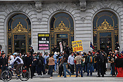 San Francisco gay marriage demonstration on the first day of legal gay marriage in California
