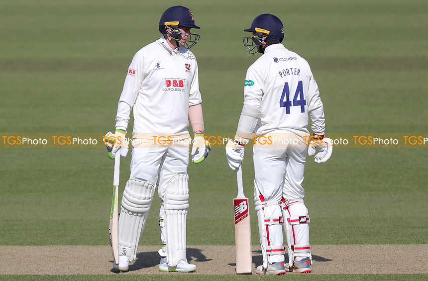 Peter Siddle and Jamie Porter or Essex chat between overs during Surrey CCC vs Essex CCC, Specsavers County Championship Division 1 Cricket at the Kia Oval on 13th April 2019