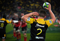 Ricky Riccitelli tries to hear a lineout call during the Super Rugby match between the Hurricanes and Crusaders at Westpac Stadium in Wellington, New Zealand on Saturday, 15 July 2017. Photo: Dave Lintott / lintottphoto.co.nz