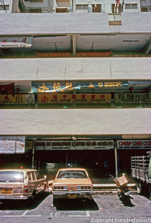 Singapore: Shops below high rise--the New Singapore. Photo '83.